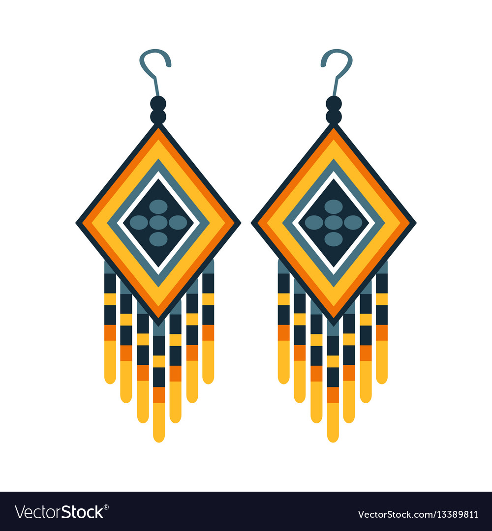 Woman earrings with beads native american indian