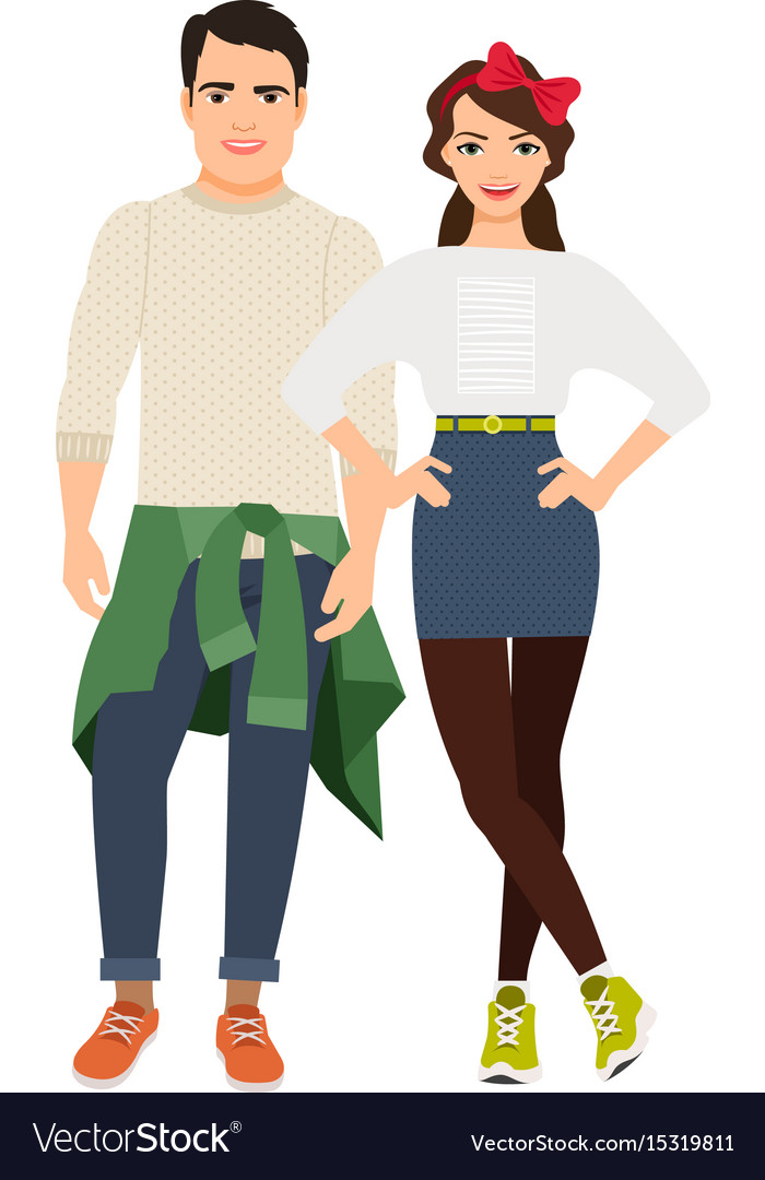 Young casual happy couple
