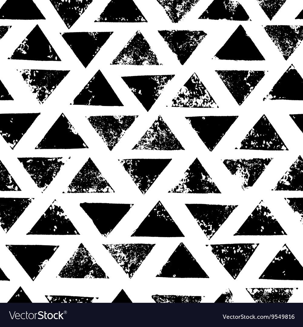 Black and white grunge print triangles geometric