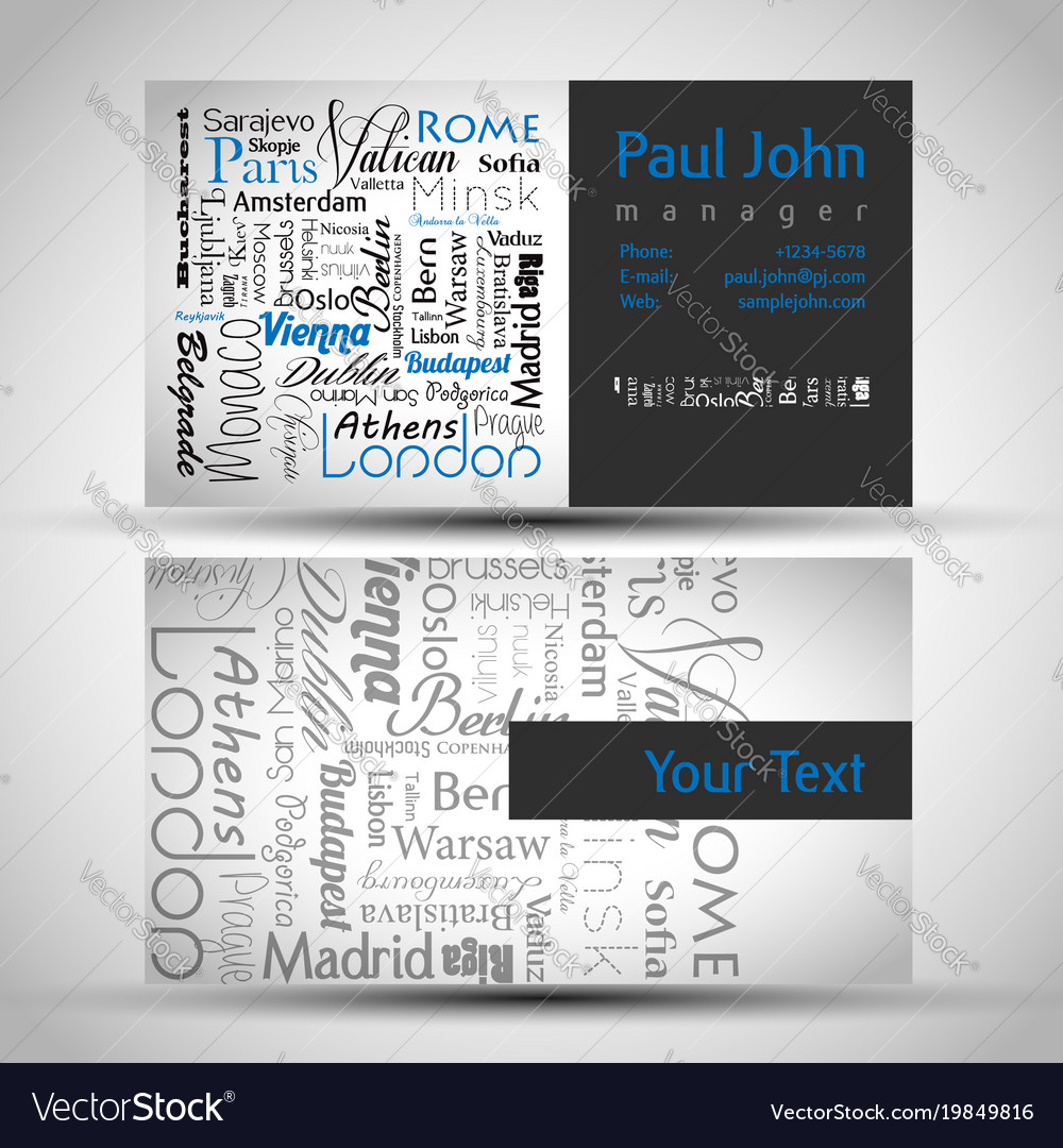 Business-card front and back with european