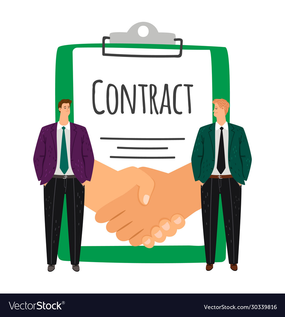 Businessmen and handshake contract signing