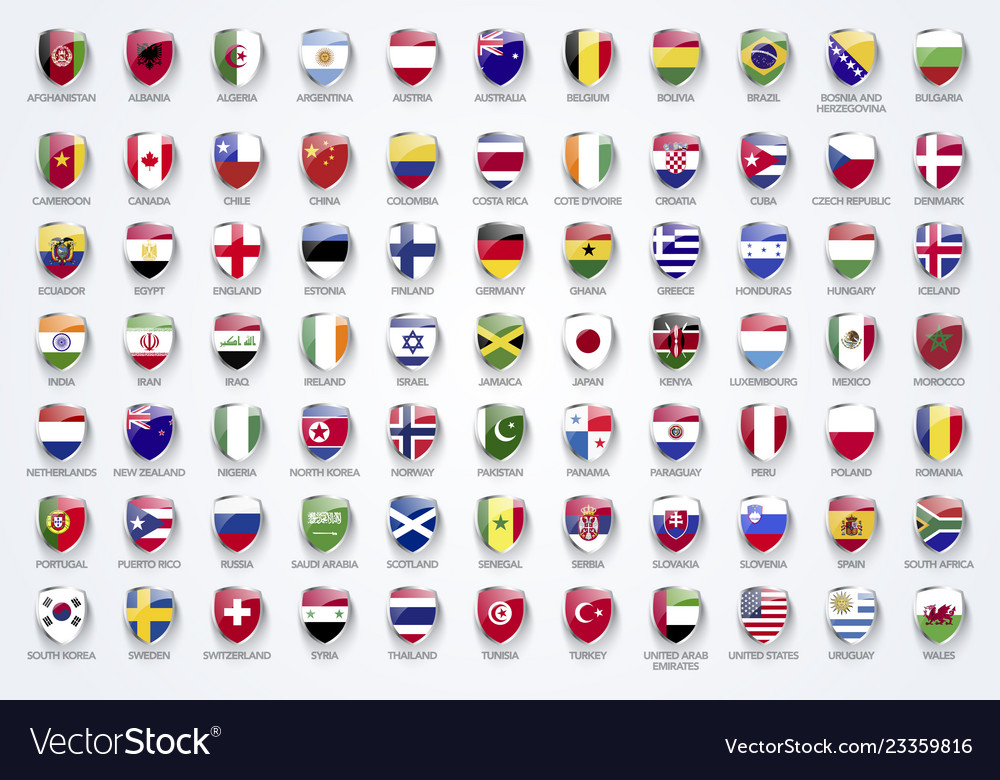 Flags of the world in shield form with names