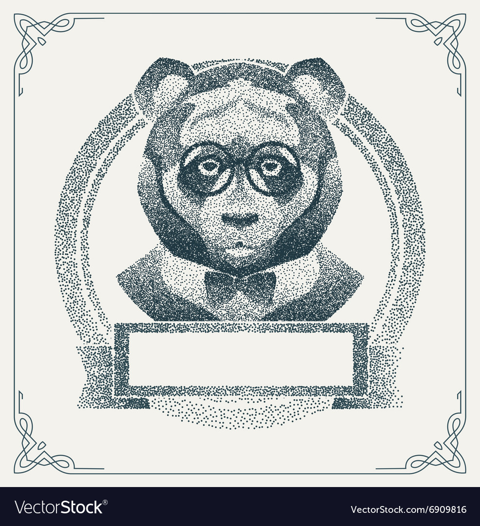 Halftone hipster panda with black Dots