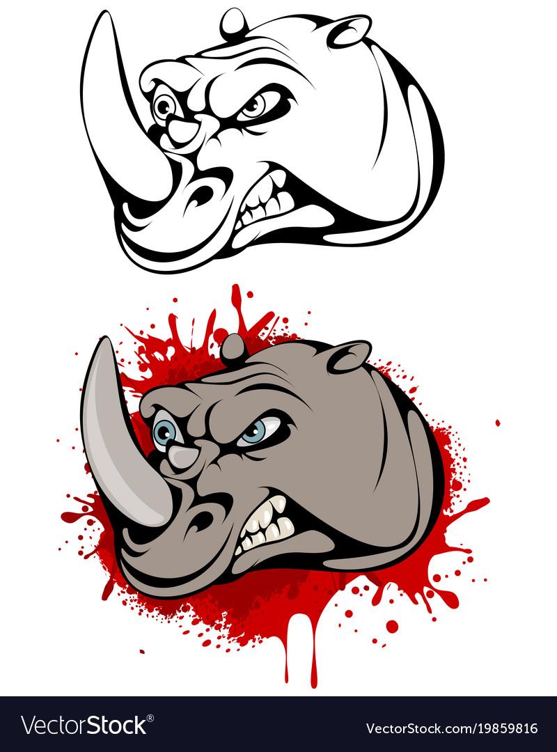 Head of angry rhinoceros