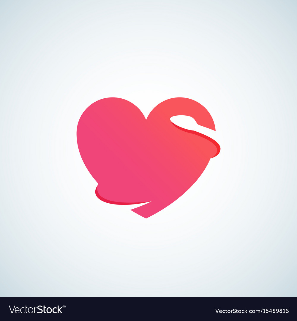 Heart with negative space snake abstract