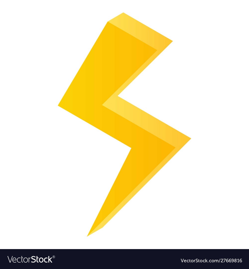 Lightning Bolt Icon Isometric Style Royalty Free Vector