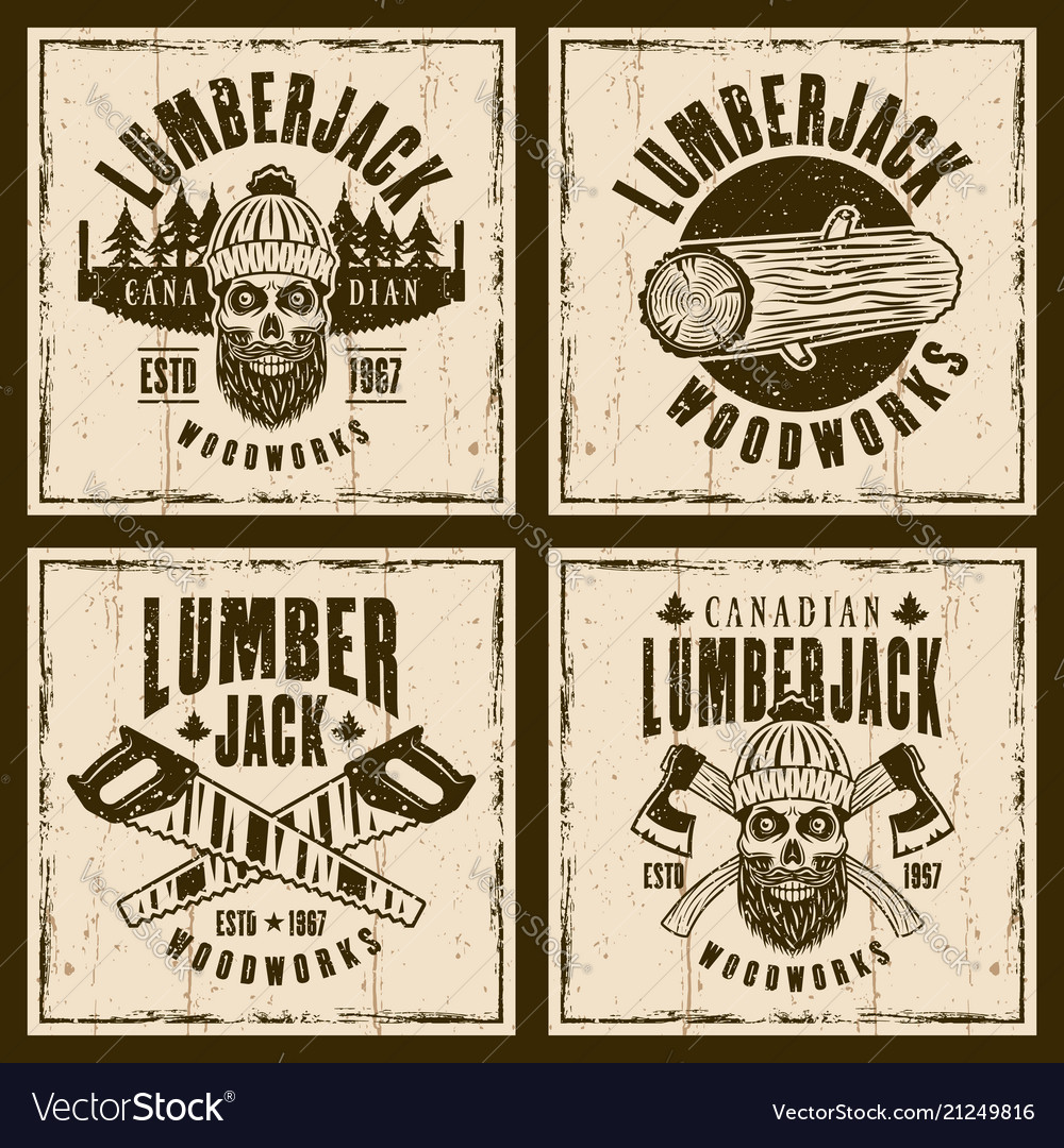 Lumberjack brown emblems on grunge backdrop