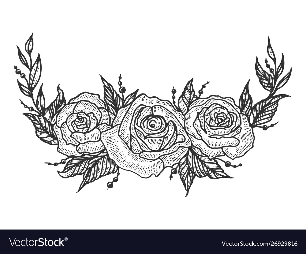 Roses flower frame sketch engraving vector