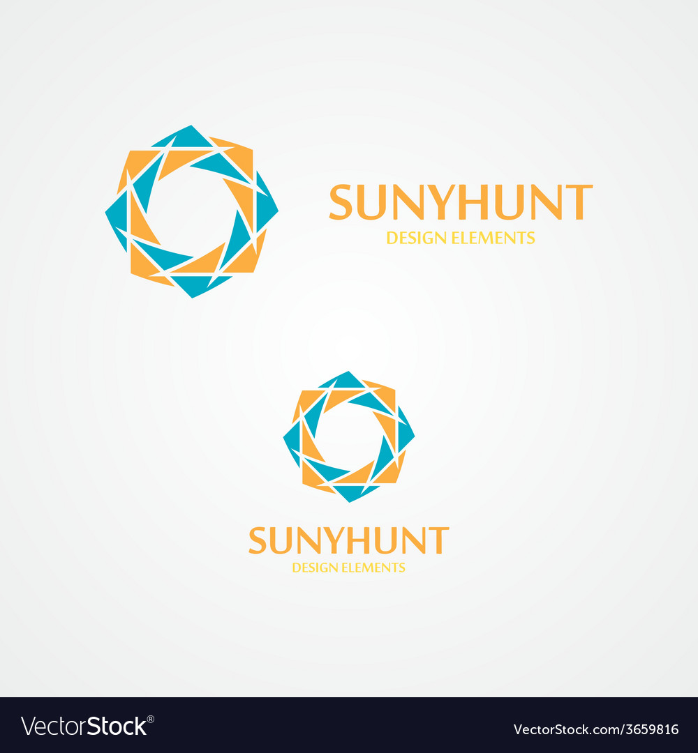 Sun logo with business card template Royalty Free Vector