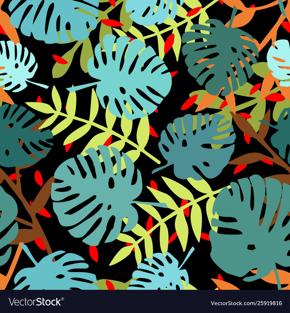 Tile tropical pattern with exotic leaves on black
