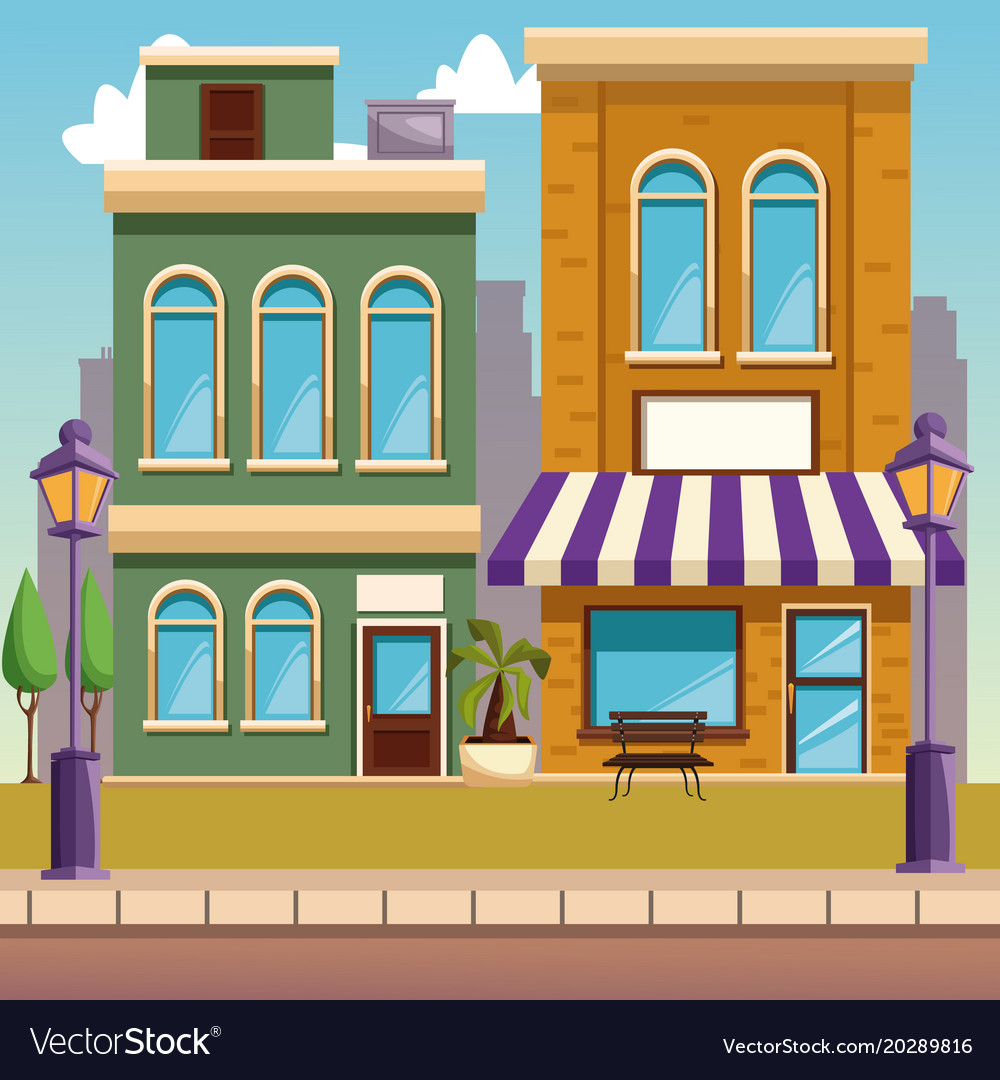 Town buildings cartoon Royalty Free Vector Image