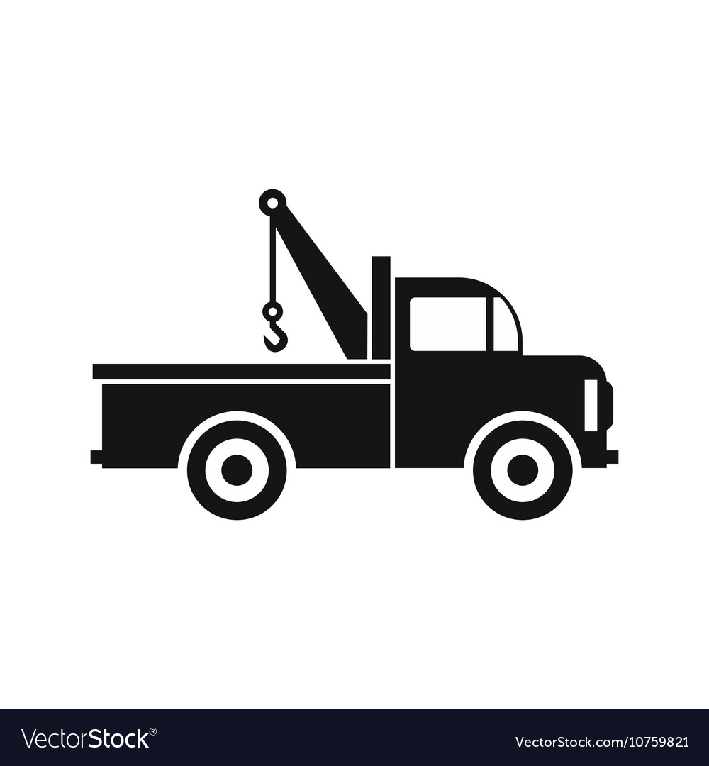 Car towing truck icon in flat style icon