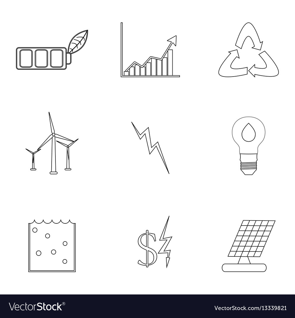 Energy and electricity linear icons