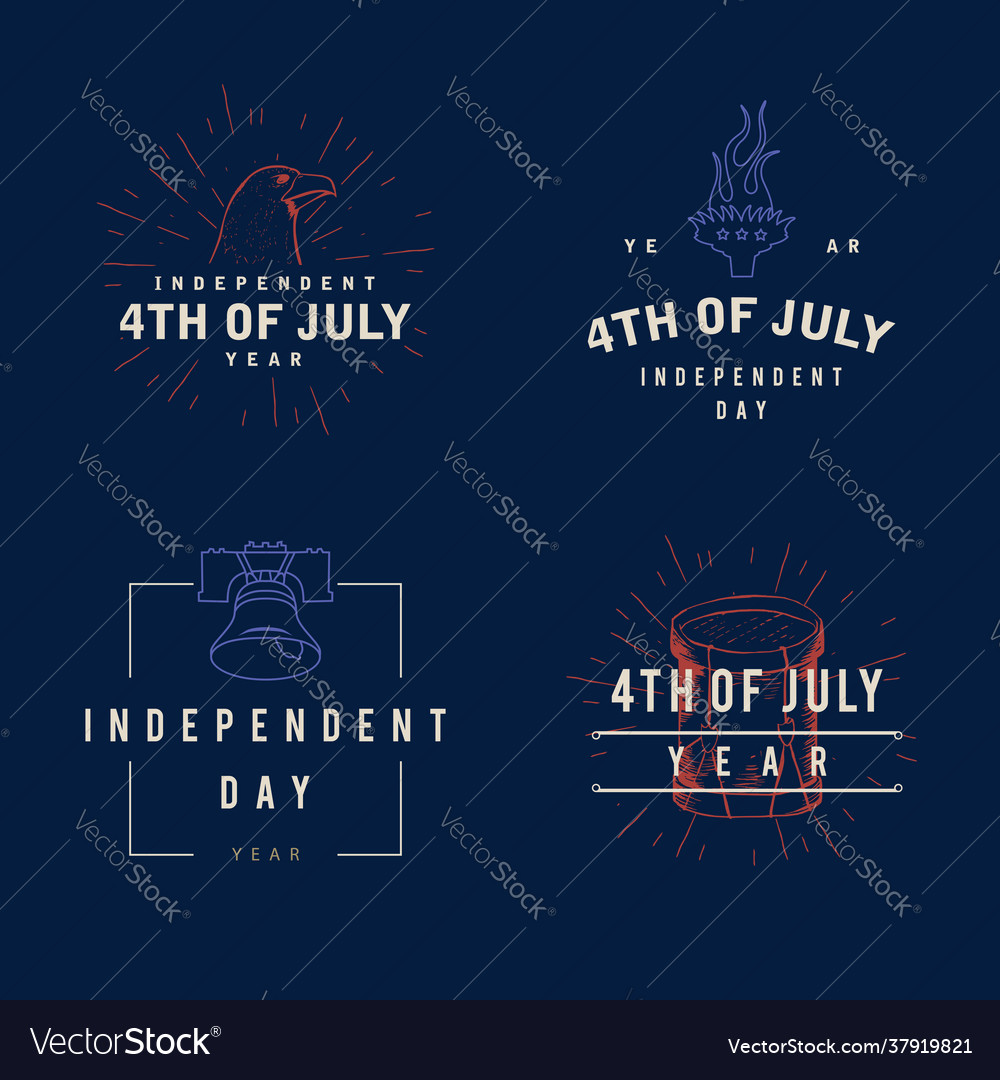 Fourth july typography design collection - 4th