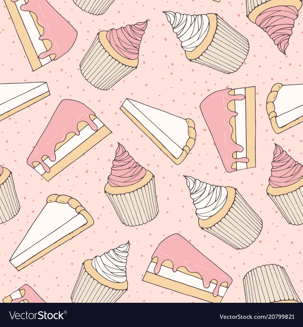 Hand drawn pastry pattern with cake muffins