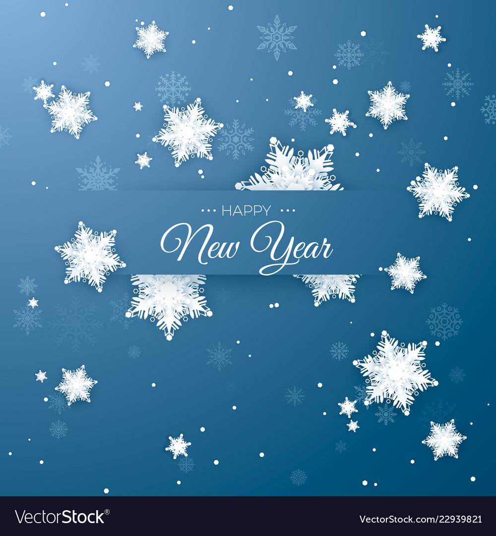 Happy new year greeting postcard paper snowflakes