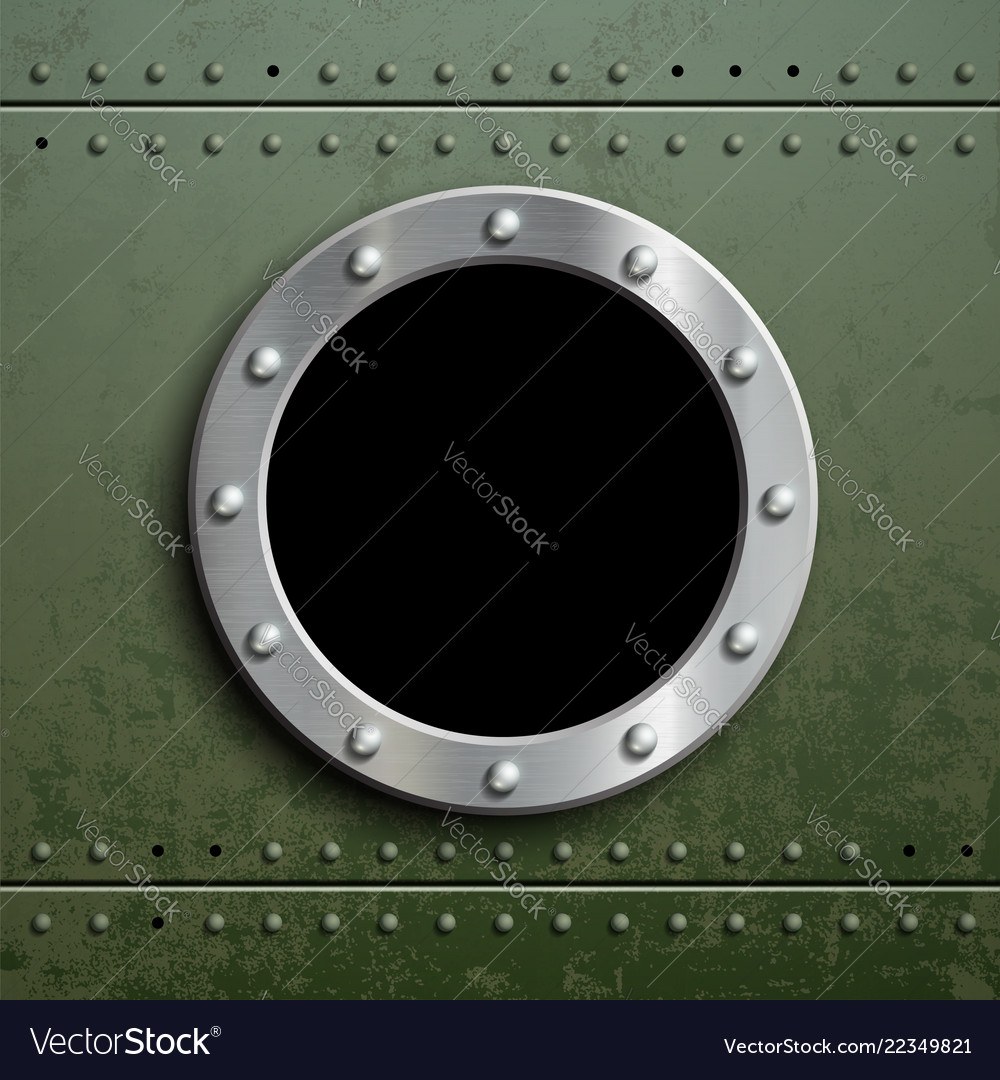 Round window porthole on green metal background