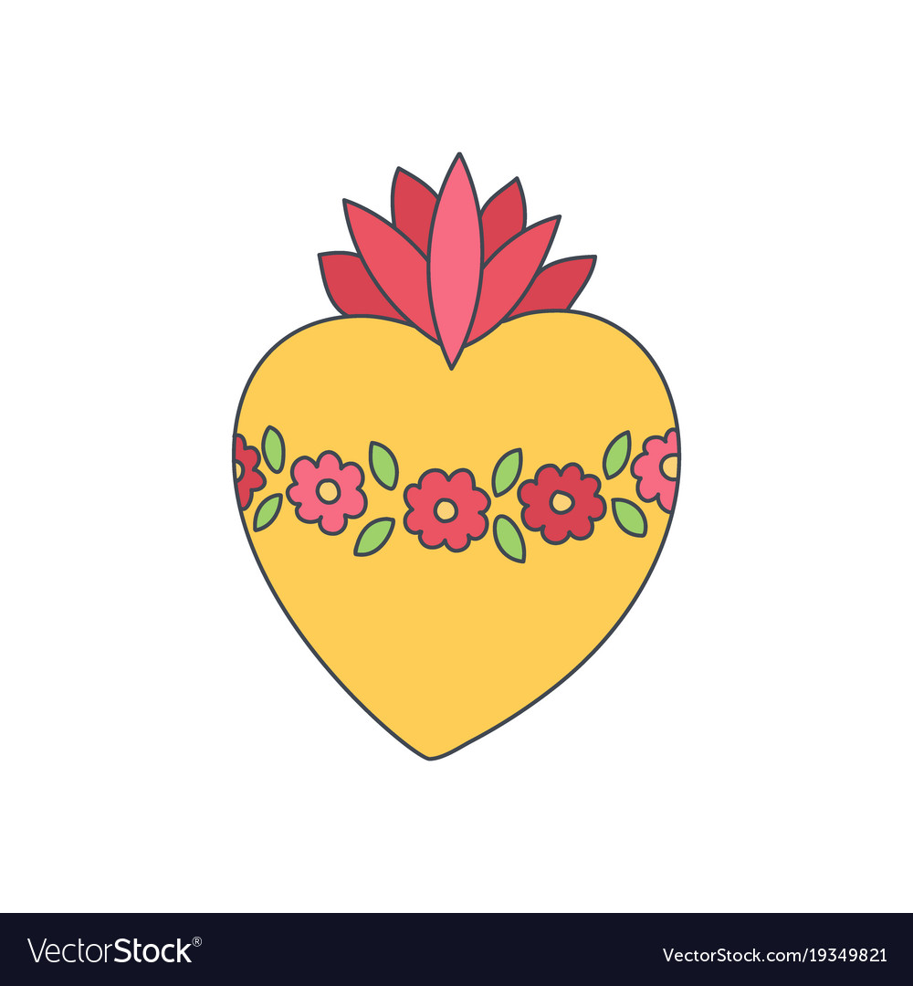 Sacred heart of mary doodle icon vector image