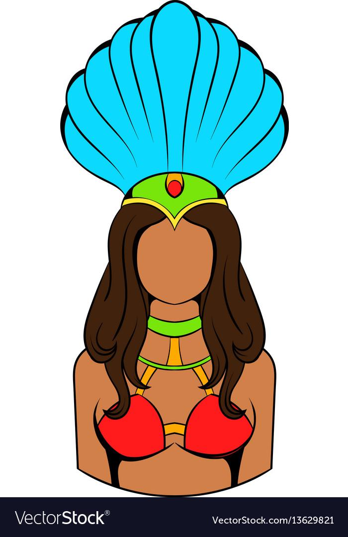 Samba girl icon cartoon