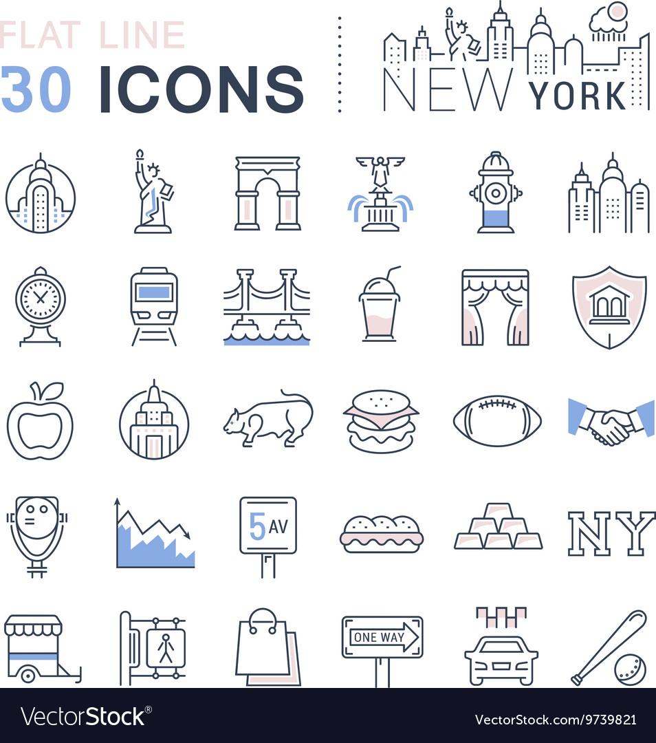 Set Flat Line Icons New York and USA