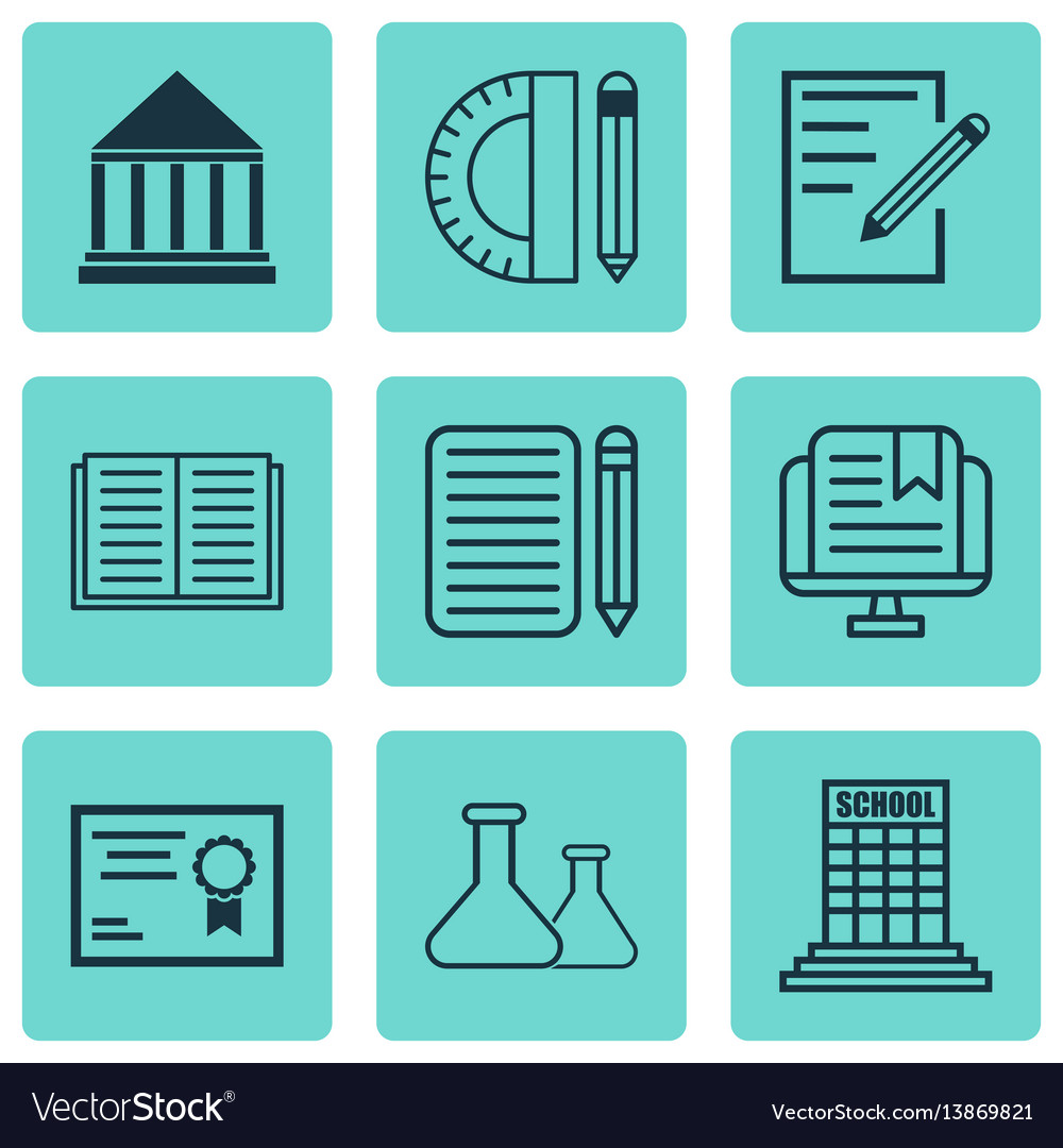 Set of 9 school icons includes home work vector image