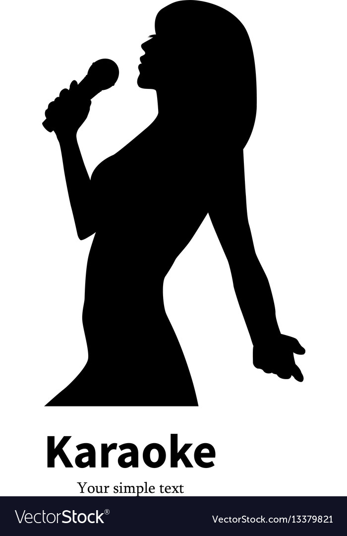 Silhouette singing girl with a microphone