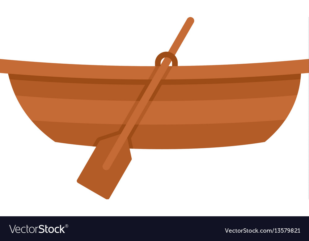 Wooden boat icon flat style