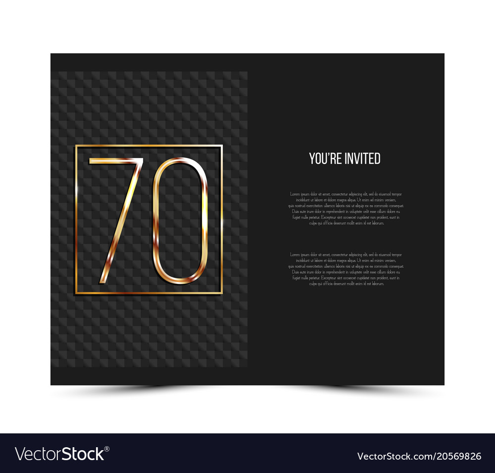 70th anniversary invitation card template vector image stopboris Image collections
