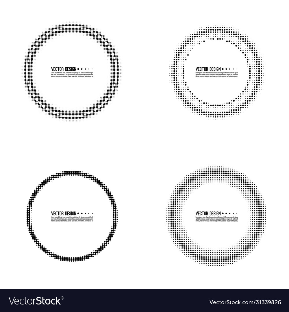 Abstract round halftone dotted frame