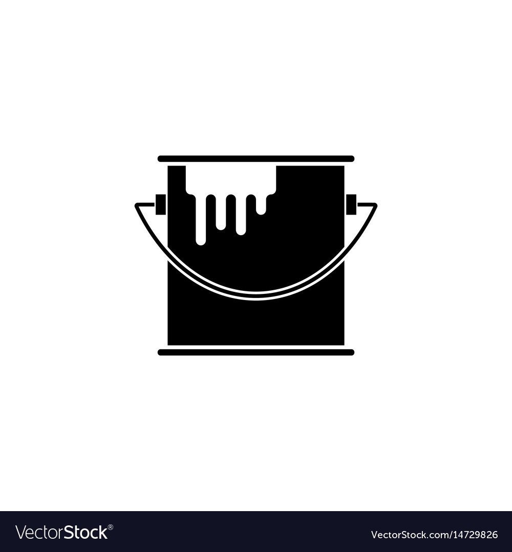 Bucket of paint solid icon build repair elements vector image