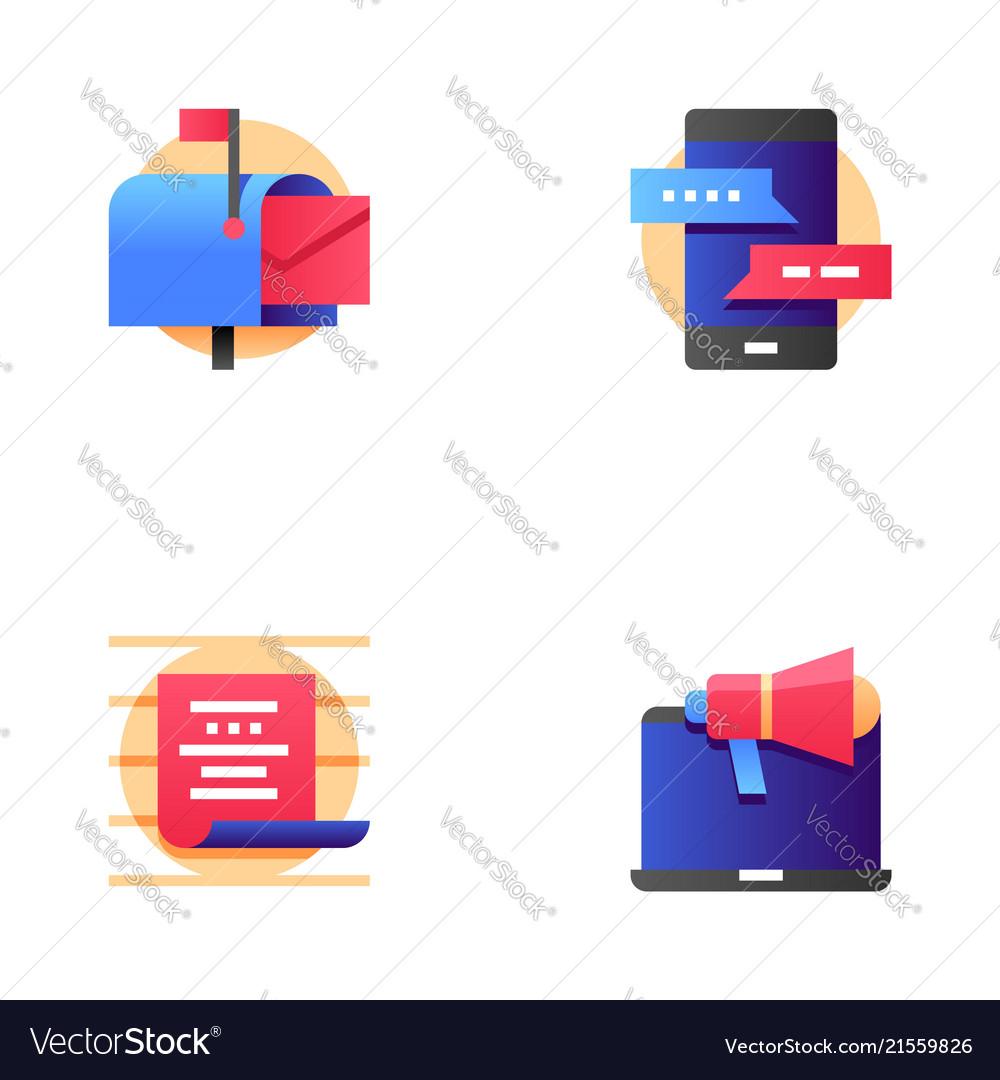 Buzz marketing line icons set