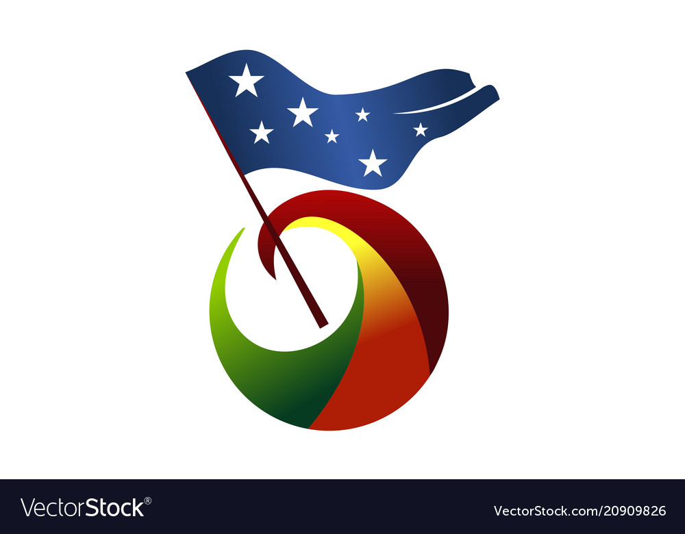 Freedom flag logo design template