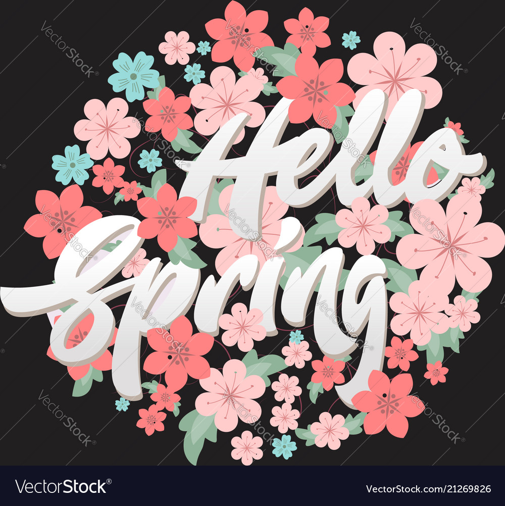 Hello spring flower circle design template