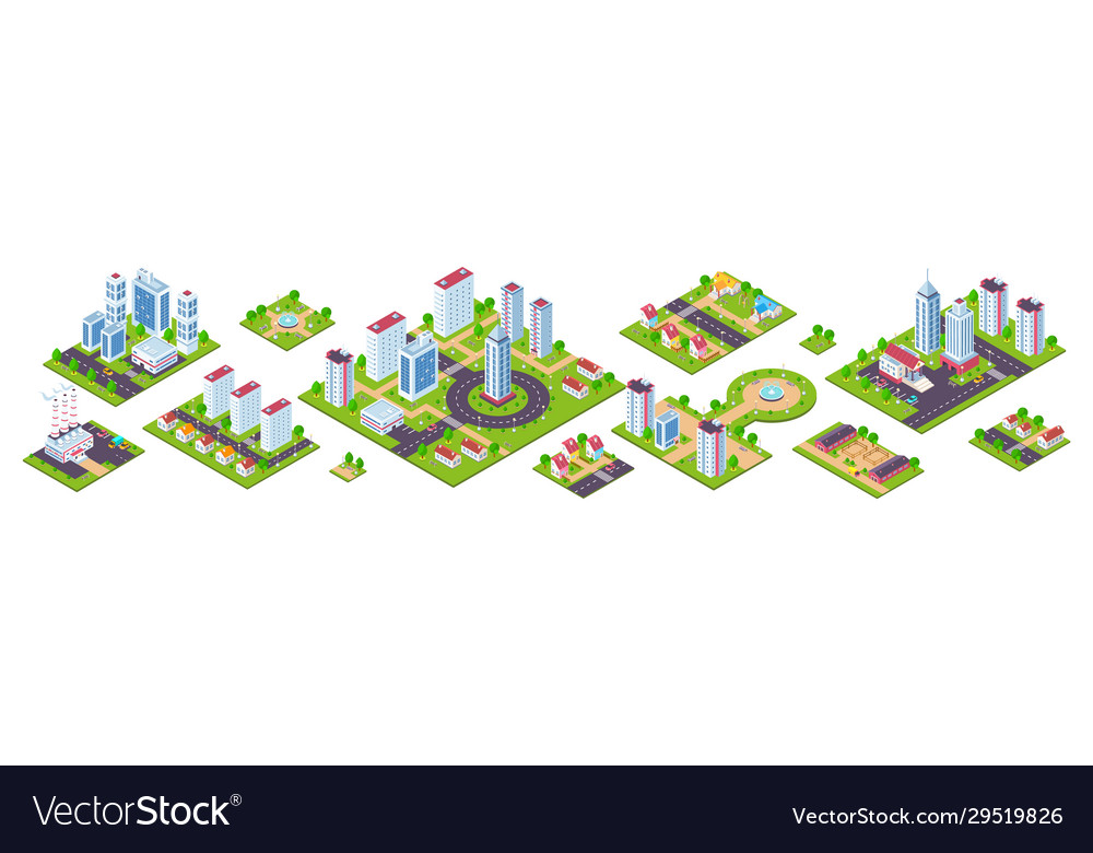 Isometric city 3d real estate houses cars and