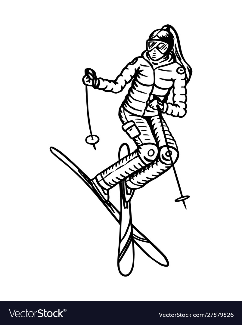Jumping skier woman active winter sport engraved