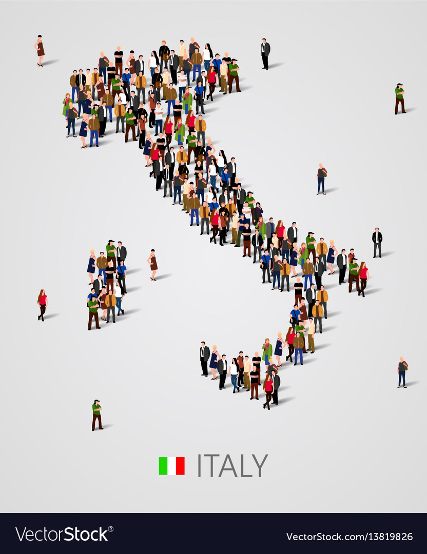 Large group of people in form of italy map with