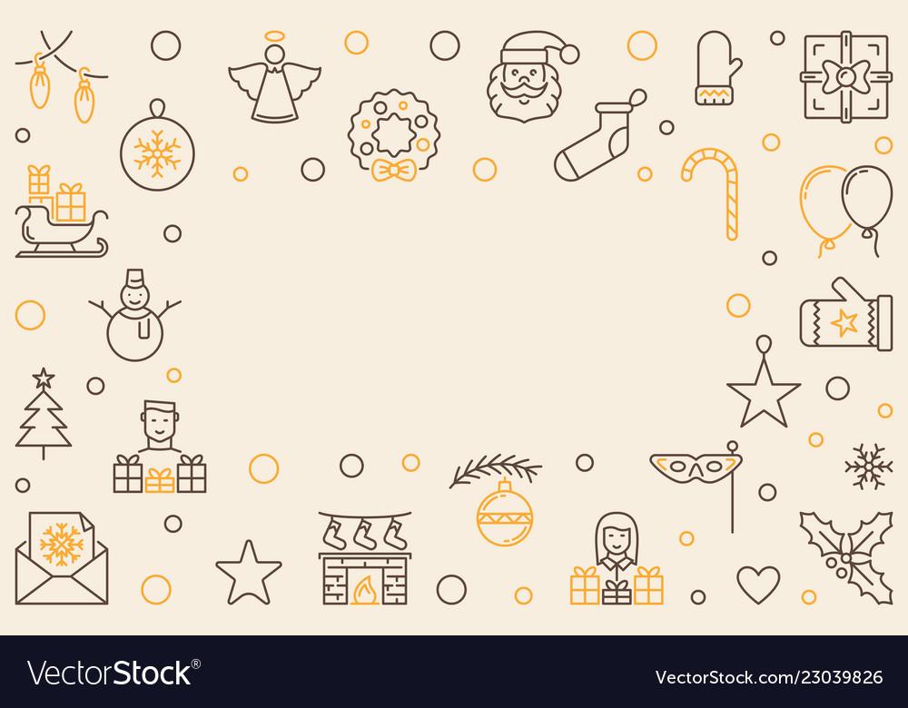 Merry christmas horizontal outline frame