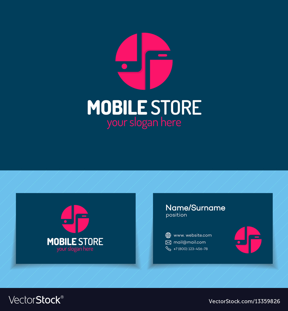 Mobile store logo set with silhouette two phone