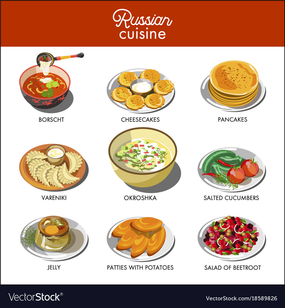Russian cuisine traditional food dishes royalty free vector russian cuisine traditional food dishes vector image forumfinder Gallery