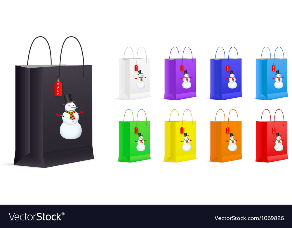 Set of Shopping Bags with Snowman and Sale Label