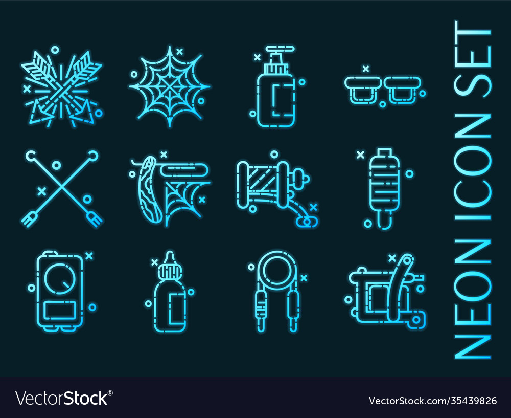Tattoo set icons blue glowing neon style