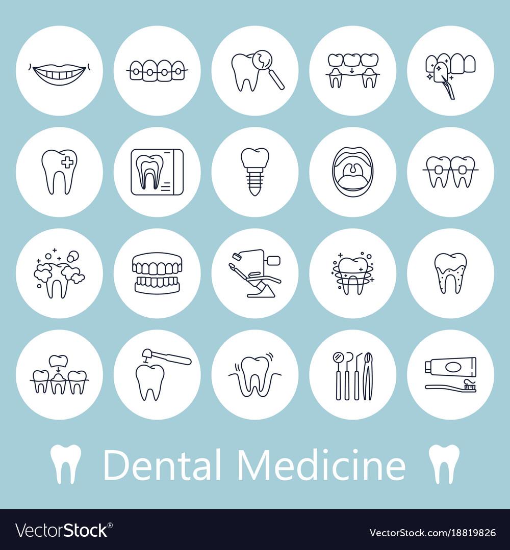 Teeth dentistry medical line icons