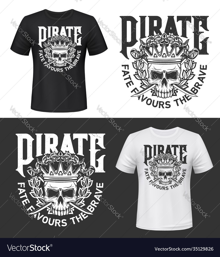 Tshirt print with skull in crown isolated mockup