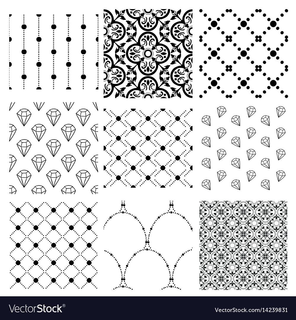 Black decorative seamless patterns set