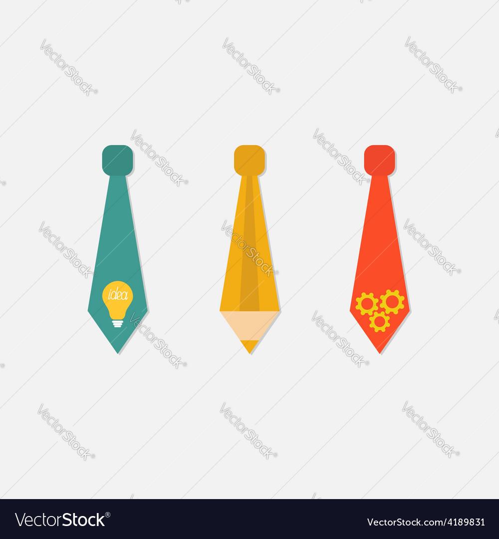 Businessman neck tie icon set light bulb pencil