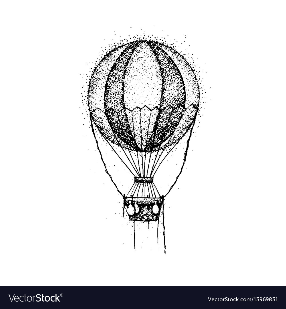 Dotwork hot air balloon
