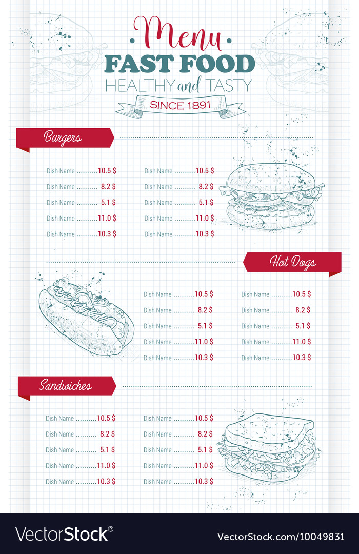 Drawing vertical scetch of fast food menu