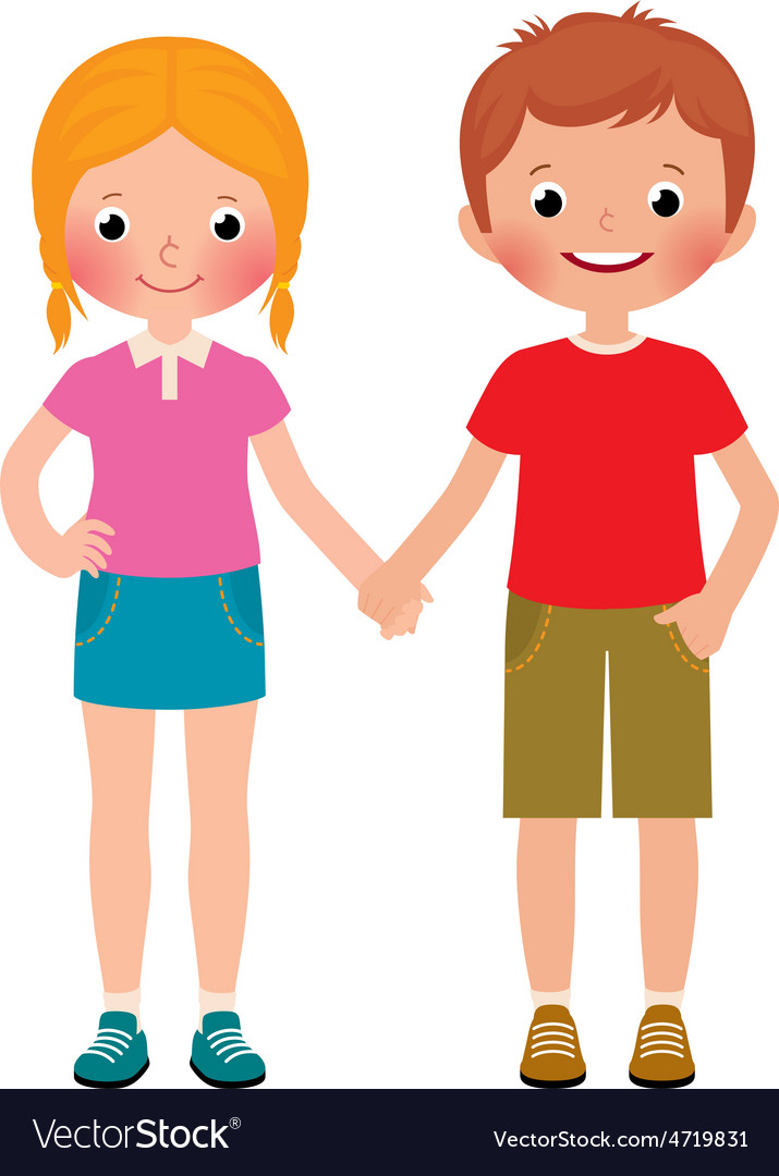 Friends of boy and girl isolated on white vector image