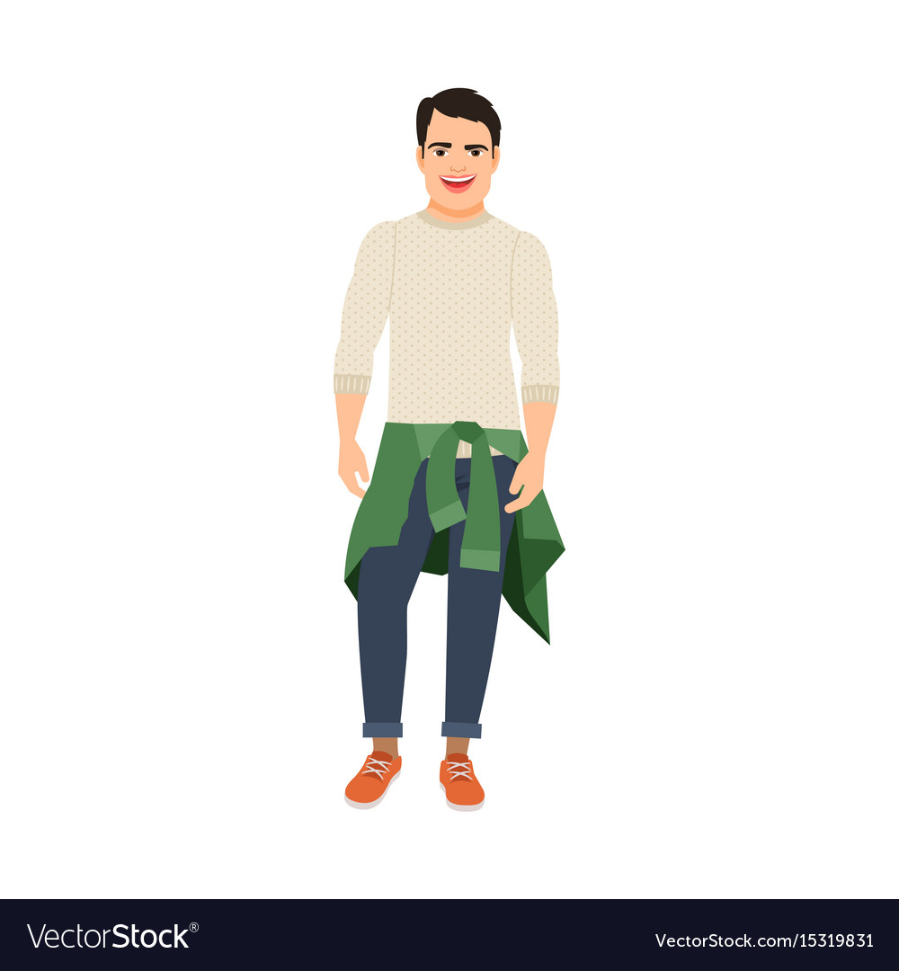 Guy with sweater at the waist vector image