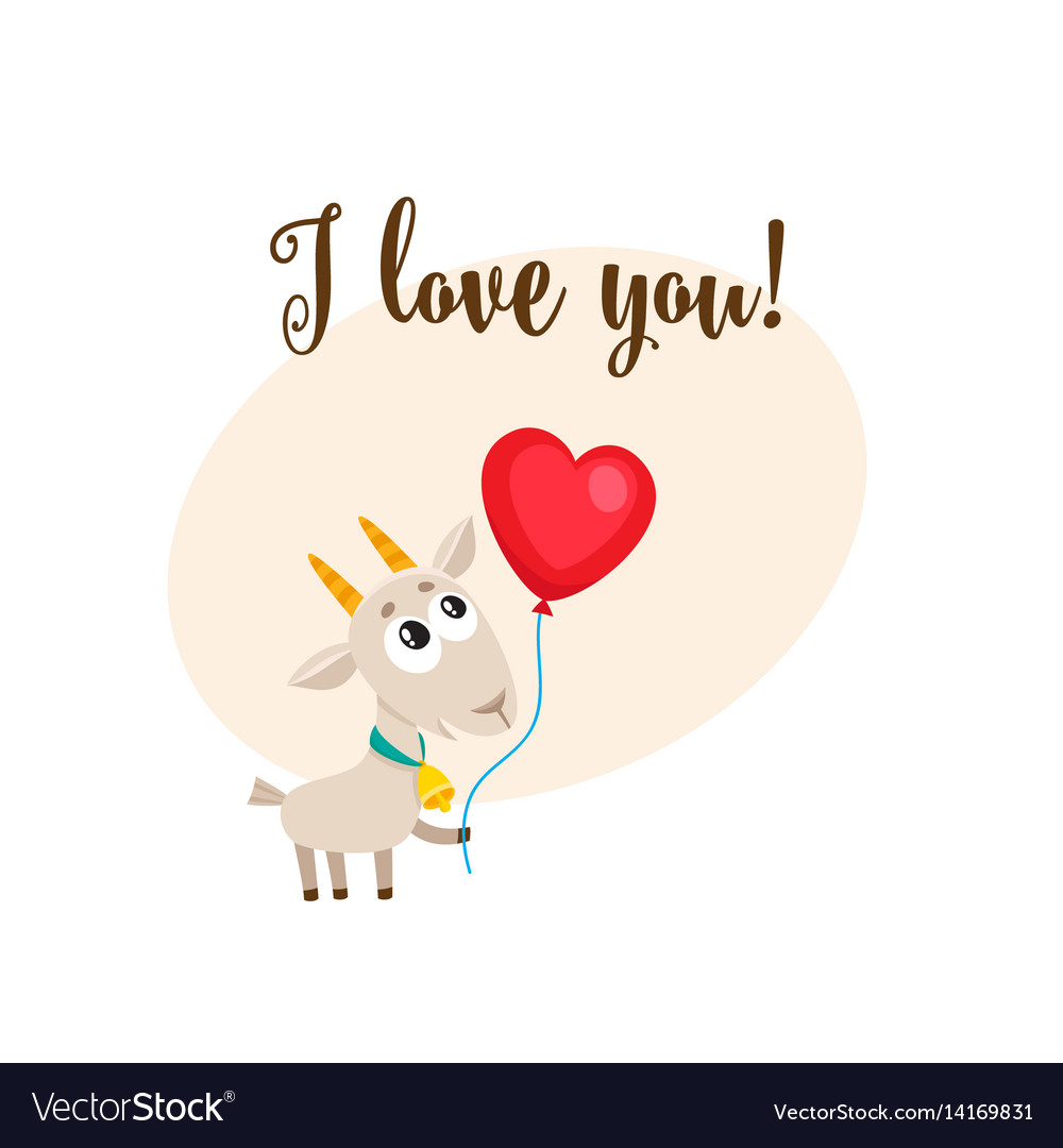 I love you card with goat holding heart shaped